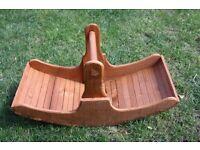 WOODEN PLANTER/ BASKET, TRUG STYLE WITH HANDLE OR USEFUL GIFT BASKET FOR FRUIT