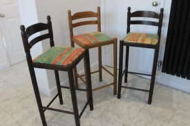 Three wooden used breakfast stools/chairs