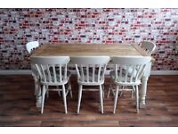 Two to Twelve Seater Rustic Farmhouse Extending Dining Table Set