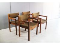 Set of 4 1970's Danish dining chairs with original upholstery