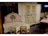 Baroque rococo Louis antique wardrobe/bedsides/headboard bedroom set