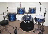 PDP Pacific (DW) CX Series Blue Oyster Finish 5 Piece Full Drum Kit + Sabian Solar Cymbal Set