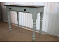 Vintage shabby chic solid pine off white console hall table