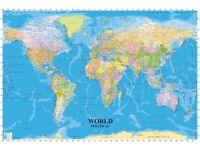 World Map Poster Print Picture Wall Art Home Office Decor Gift Gloss Matt Laminated