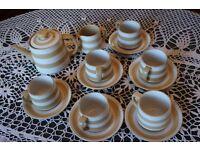 Cornishware Teapot, Milkjug, & 6 Cups and Saucers
