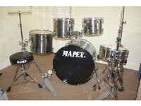 "Mapex Venus ""Smokey Chrome"" 5 Piece Full Drum Kit (22"" Bass) + Stands + Stool + Cymbals"