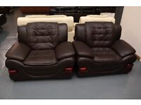 3 Piece Suite - Brown Leather 2 Seater Sofa and 2 Chairs