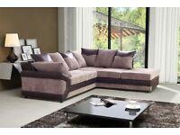 ITALIAN JUMBO CORD FABRIC New Jumbo Cord Dino Corner Sofa with Footstool or 2 + 3 Seater Grey /Brown