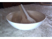 Ikea bamboo salad bowl, servers and 4 bowls
