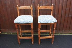 2x solid pine breakfast bar stools