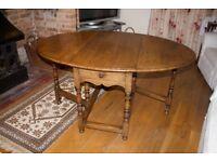 Victorian oak gate leg folding table & 6 chairs