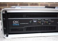 QSC RMX 5050 power amp amplifier rack in flight case, like new, 1100 Watts RMS per channel at 8 Ohms