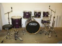 "Mapex M Series Violet Lacquer 6 Piece Drum Kit (22"" Bass) + Stands + Stool + Meinl MCS Cymbal Set"
