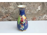 Early Carlton Ware Blue Vase With Fruit Design Black W & R Crown Mark 1920's Art Deco Ornate Lustre