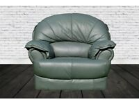 Green leather clubchairs