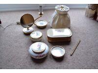 LISSCO 1960s DRESSING TABLE SET ACCESSORIES, 7 ITEMS, LAMP, MIRROR, BOWLS, JEWELLERY BOX, ETC - RARE
