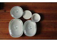 Corningware french white 9 piece set bakeware/ovenware/ serve ware