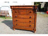 Antique solid wood large chest of drawers