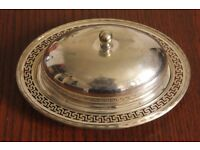 Marples & Co Antique Silver Plated Butter Dish w Lid Greek Design 7913 Sheffield