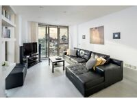 A stunning apartment comprises of an open plan reception room, modern kitchen boasting city views.