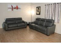 Ex-display Paloma dark grey leather electric recliner 3 seater sofa and 2,5 seater sofa bed