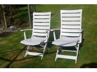 Pair Superior Quality PVC Garden Reclining Chairs