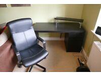 Ikea Desk & Office Chair - Black/Brown