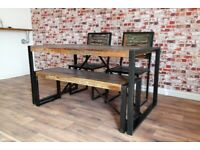 Industrial Metal Set Boat Wood Reclaimed Dining Table, Bench and Chairs Rustic Industrial Metal Set