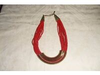 20X Strand Red Plastic Bead Necklace North African Tribal Ethnic Jewelery