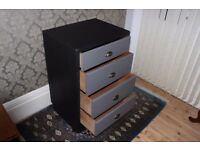 Four drawer chest, vintage, upcycled, Autentico Nocturnal and Lava