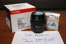 CANON 100mm f/2.0 USM LENS - GREAT CONDITION - BOXED