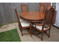 STUNNING Vintage Drexel Heritage extending dining table and 6 chairs,made in USA