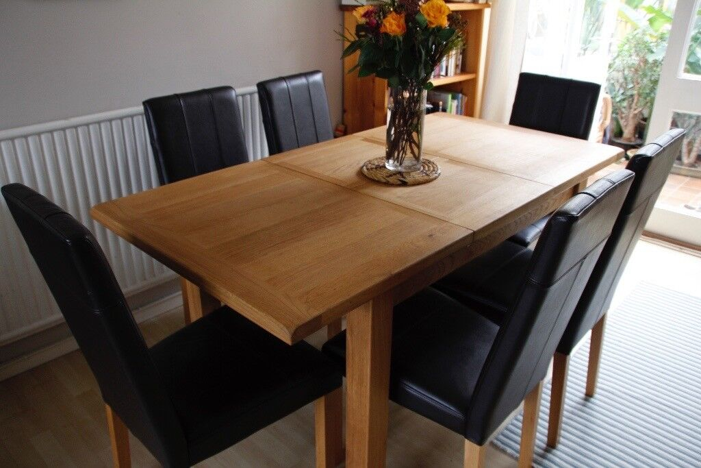 6 brown faux leather oak dining chairs