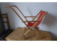 Wooden Toy / Dolls / Child's Pushchair / Push Chair / Stroller / Buggy. In good vintage condition.