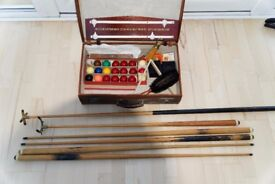 Vintage snooker and billiard cues, balls and accessories