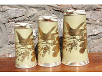 Set of 3 Beautifully Decorated Victorian Graduating Jugs 1880's Charles Barlow Bird Flowers Gold