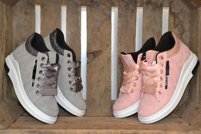 Damen Sneaker Keilabsatz Freizeitschuh Tunrschuhe Glitzer Schnürer rosa grau  Rosa Damen Sneaker