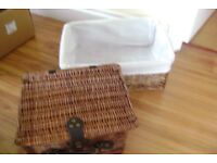 2 X BROWN WICKER BASKETS