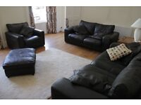 Black leather sofa - 3 seater, 2 seater, armchair, footstool - Sofas, Armchairs, Couches & Suites