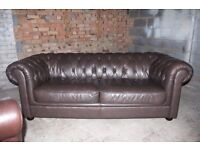3 seater chesterfield style brown leather sofa 2 AVAILABLE