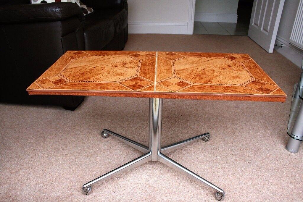 Retro Chrome Tiled Coffee Table with Wheeled Base.