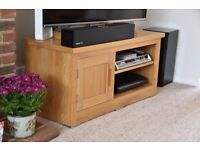 TV stand with cupboard and shelves. Oak