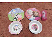 character plates, bowls and cups (frozen and peppa pig)