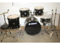 Yamaha Gigmaker Black 5 Piece Full Drum Kit 22in Bass + Pearl Cymbal Set - £325 ono