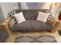 Reclaimed Rustic Sofa with Grey Cushions