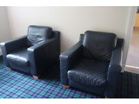 2 x Soft Navy Leather Armchairs With Beech Feet