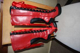 Bordello Red and Black boots size 5 EU38