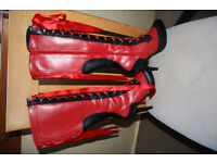 Bordello Red and Black boots size 5 EU38