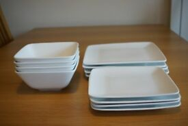 M&S Maxim square tableware. 4 large plates. 4 medium plates. 4 bowls. Excellent con.