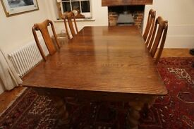 Antique snooker / dinning table and six chairs